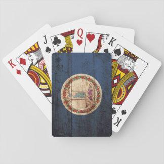 Virginia-Staats-Flagge auf altem hölzernem Korn Spielkarten