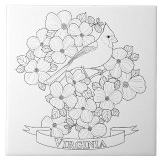 Virginia-Staats-Vogel-und Blumen-Farbton-Seite Keramikfliese