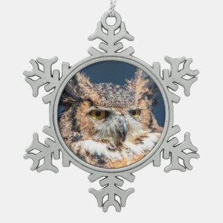 Virginia-Uhu-Porträt Schneeflocken Zinn-Ornament