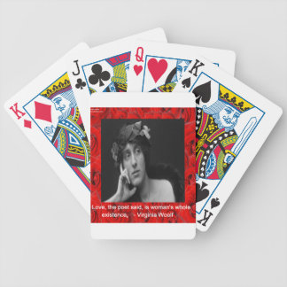 Virginia Woolf u. Liebe-Zitat Bicycle Spielkarten