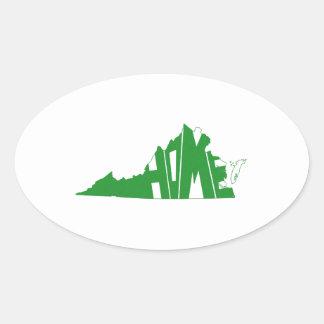 Virginia-ZUHAUSE Staat Ovaler Aufkleber