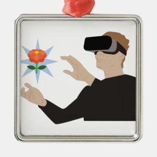 Virtuelle Realität Silbernes Ornament