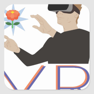 Virtuelle Realität V.R. Quadratischer Aufkleber