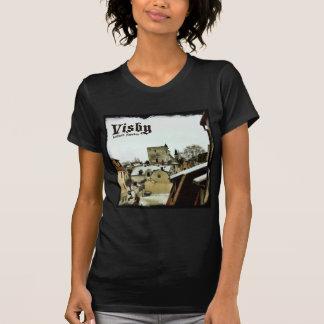 Visby, Dachspitzen Gotland, Schweden mit dunkler T-Shirt
