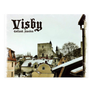 Visby, Dachspitzen Gotland, Schweden mit heller Postkarte