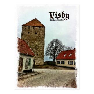Visby, Turm Gotland, Schweden mit heller Grenze Postkarte