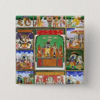 Vishnu in der Mitte seiner zehn Avataras, Jaipur, Quadratischer Button 5,1 Cm