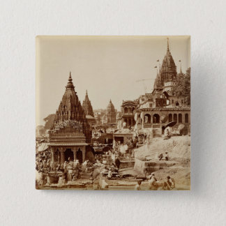 Vishnu Pud und andere Tempel, Benares (Sepia-Foto Quadratischer Button 5,1 Cm