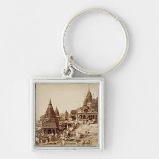 Vishnu Pud und andere Tempel, Benares (Sepia-Foto Schlüsselanhänger