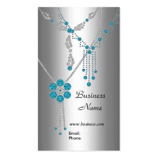 Visitenkarte-elegante blaue Juwelen auf Silber Visitenkarten