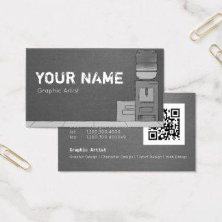 Visitenkarte für Künstler mit QR Code