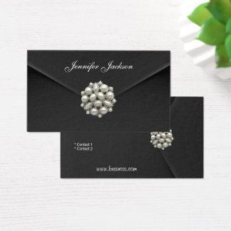 Visitenkarte-Geschäfts-Schwarz-Samt-Perlen-Juwel Visitenkarte