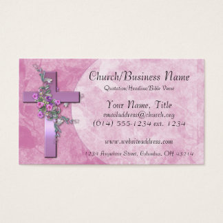Visitenkarten: Lila Kreuz mit rosa Blumen Visitenkarte