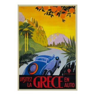 Visitez La Grece en-Auto-Retro Feiertags-Plakat Poster