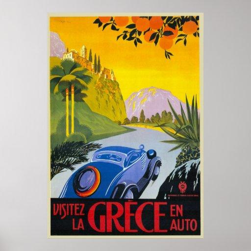 Visitez La Grece en-Auto-Retro Feiertags-Plakat