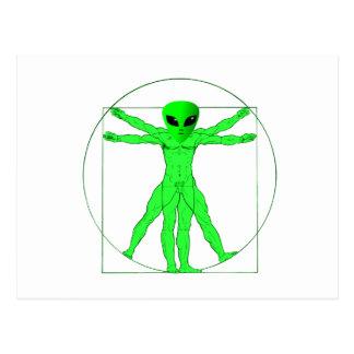 Vitruvian alien postkarte