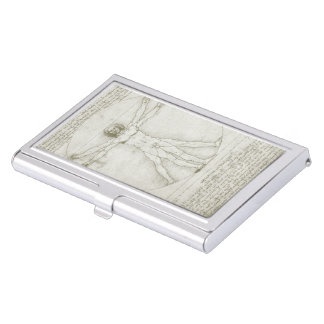Vitruvian Mann durch Leonardo da Vinci Visitenkarten-Behälter