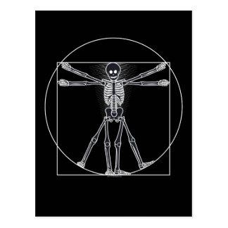 Vitruvian Skeleton Dunkelheit Postkarte