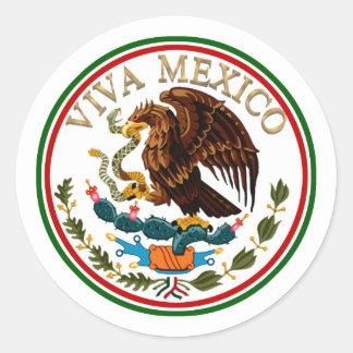 Viva Mexiko Flagge-Ikone mit Goldtext Runder Aufkleber