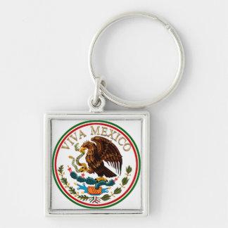 Viva Mexiko Flagge-Ikone mit Goldtext Schlüsselanhänger