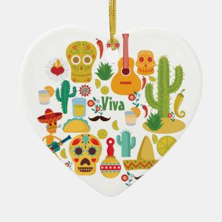 viva Mexiko Keramik Herz-Ornament