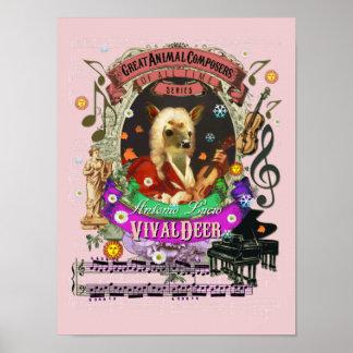 Vivaldi Parodie Vivaldeer Rotwild-Tier-Komponist Poster