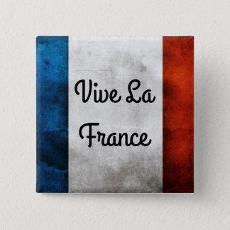 Vive La-Frankreich-Abzeichen Quadratischer Button 5,1 Cm