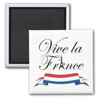 Vive La Frankreich-Typografie Quadratischer Magnet