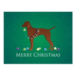 Vizsla Hundefrohe Weihnacht-Entwurf Postkarte