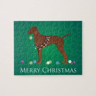 Vizsla Hundefrohe Weihnacht-Entwurf Puzzle