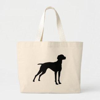 Vizsla HundeSilhouette (Schwarzes) Jumbo Stoffbeutel