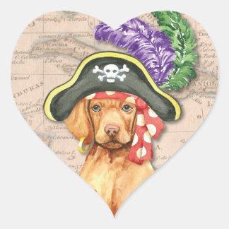 Vizsla Pirat Herz-Aufkleber