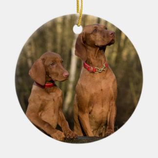 Vizslas Hunde Keramik Ornament