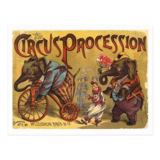 Vntage Elefant-Zirkus-Prozession Postkarten