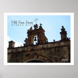 Vögel an altem Plakat San Juan Puerto Rico