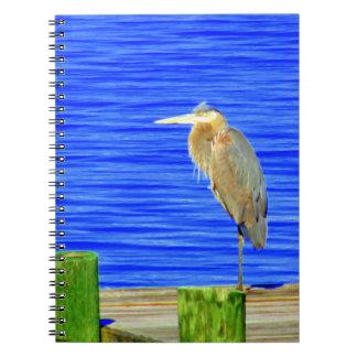 Vogel auf dem Dock-Fotonotizbuch Notizblock