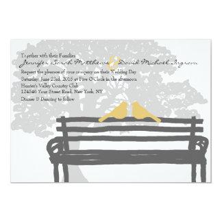 Vögel auf eine Park-Bank-Hochzeits-Einladungen 12,7 X 17,8 Cm Einladungskarte