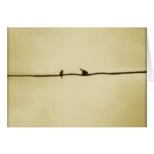 Vögel auf einem Draht im Herbst Grußkarten