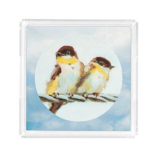 Vögel auf einem Draht im Sonnenschein Acryl Tablett