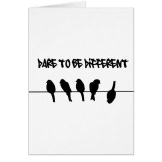 Vögel auf einem Draht - trauen Sie sich, Grußkarte