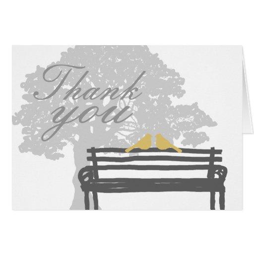 Vögel auf einer Park-Bank-Hochzeit danken Ihnen Grußkarte