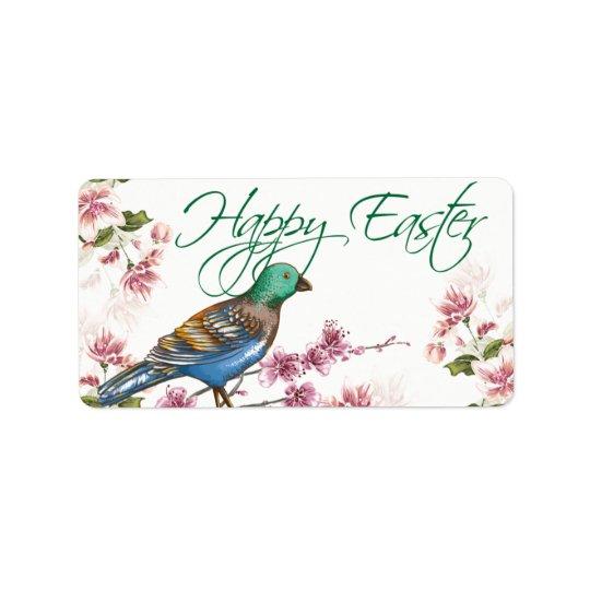 Vogel auf Frühling verzweigt sich glückliche Oster Adressaufkleber