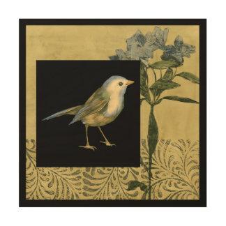 Vogel auf schwarzem und Vintagem Hintergrund Holzdruck
