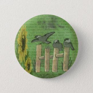 Vögel auf Zaun Runder Button 5,1 Cm