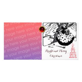VOGEL-BAUM UND WEIHNACHTSdame Schwarz-weißer roter Individuelle Foto Karten