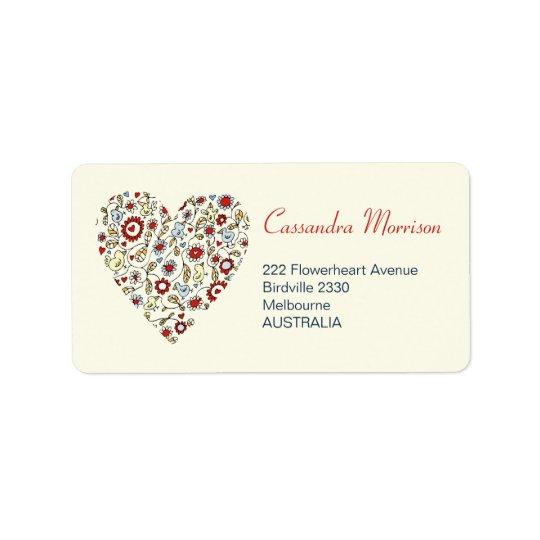 Vogel-Blumen-Liebe-Herz-Adressen-Etiketten Adressaufkleber