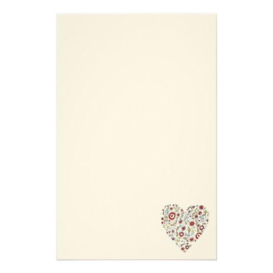 Vogel Blumen Liebe Herz Briefpapier Briefpapier Zazzle