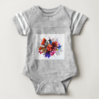 Vogel-Blumenstrauß Baby Strampler