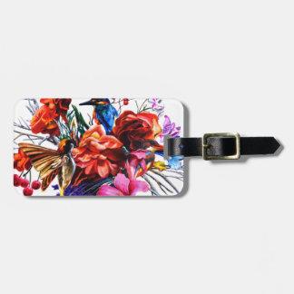 Vogel-Blumenstrauß Gepäckanhänger