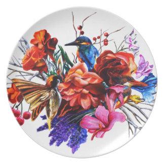 Vogel-Blumenstrauß Teller